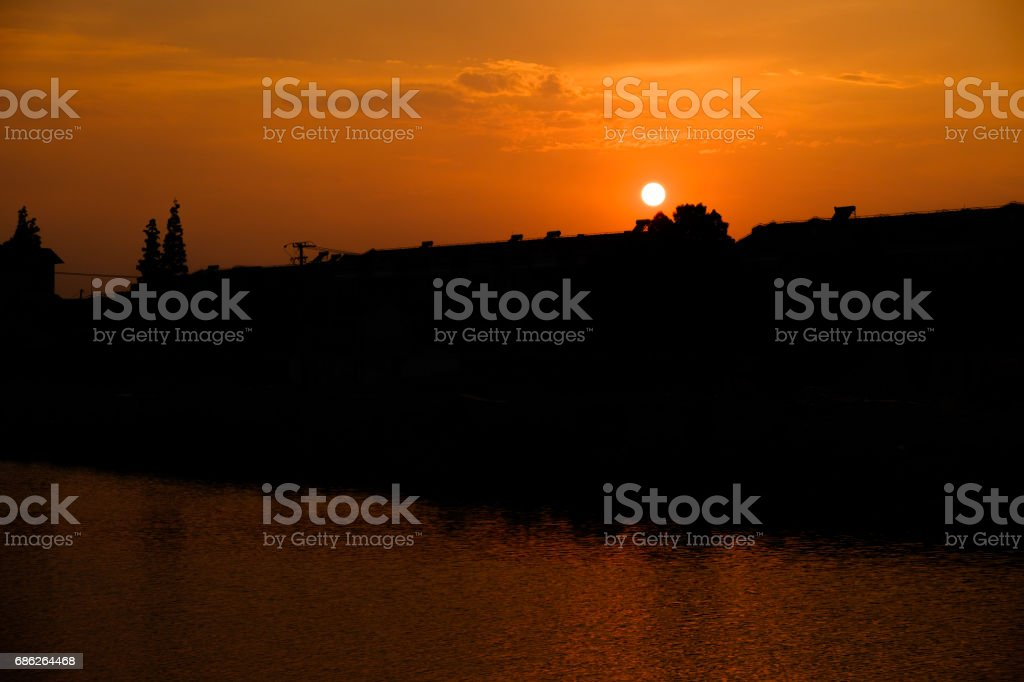 Sunset beside the River stock photo