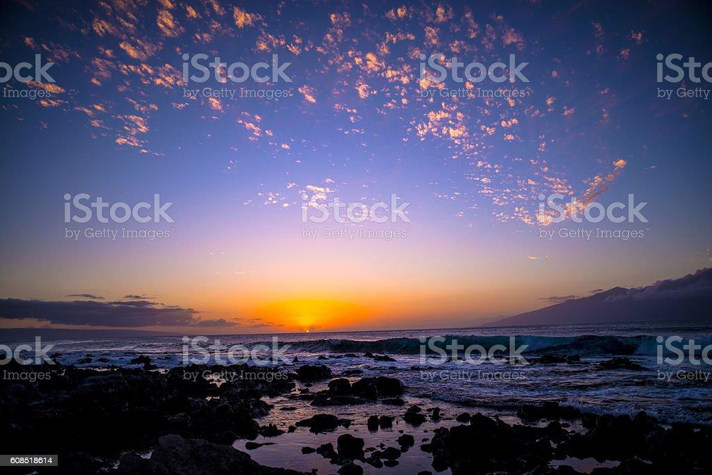 sunset between lanai and molokai stock photo