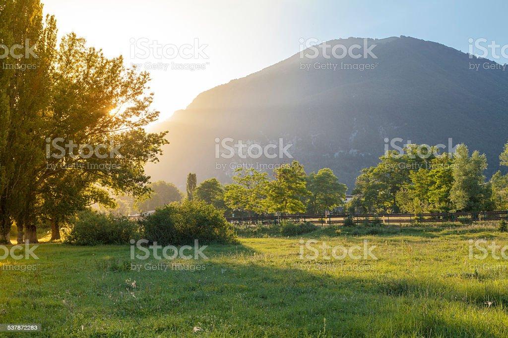 Sunset Beyond Mountain, Abruzzo, Italy stock photo