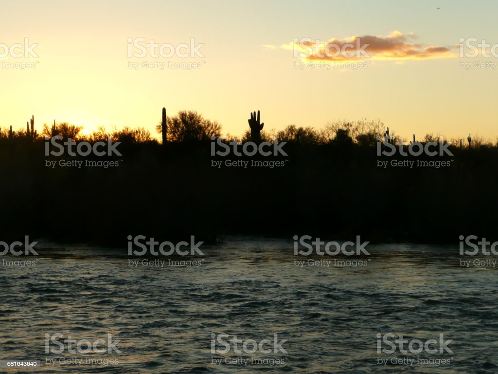 Sunset beyond the Saltriver stock photo