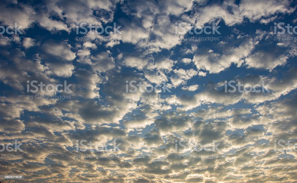 Sunset. blue sky and clouds stock photo
