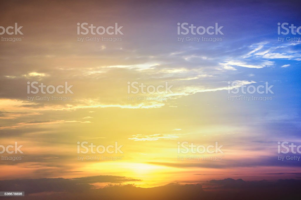 Sunset blue sky and clouds, Sky background on sunset stock photo