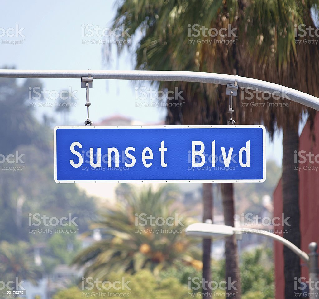 Sunset Blvd Sign in Hollywood California stock photo