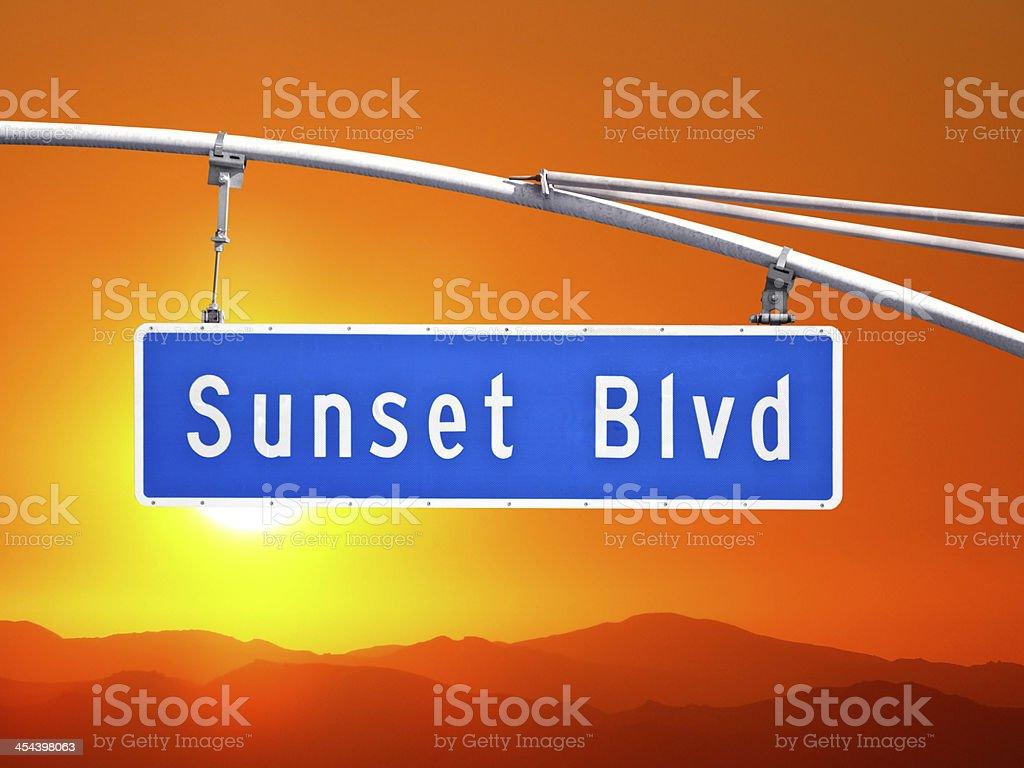 Sunset Blvd Sign with Orange Dusk Sky royalty-free stock photo