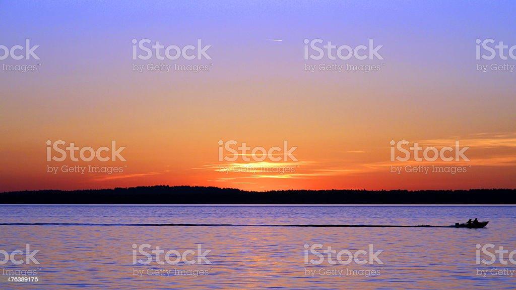 Sunset Boat stock photo