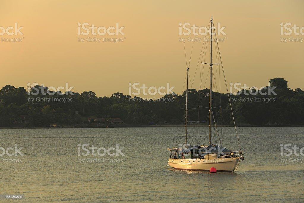 Sunset boating royalty-free stock photo