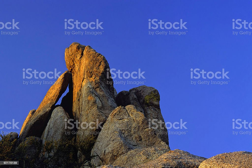 sunset boulder abstract stock photo