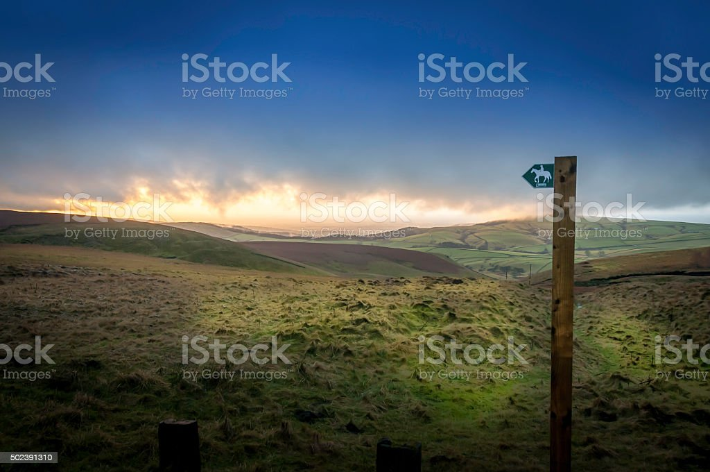 Sunset Bridleway stock photo
