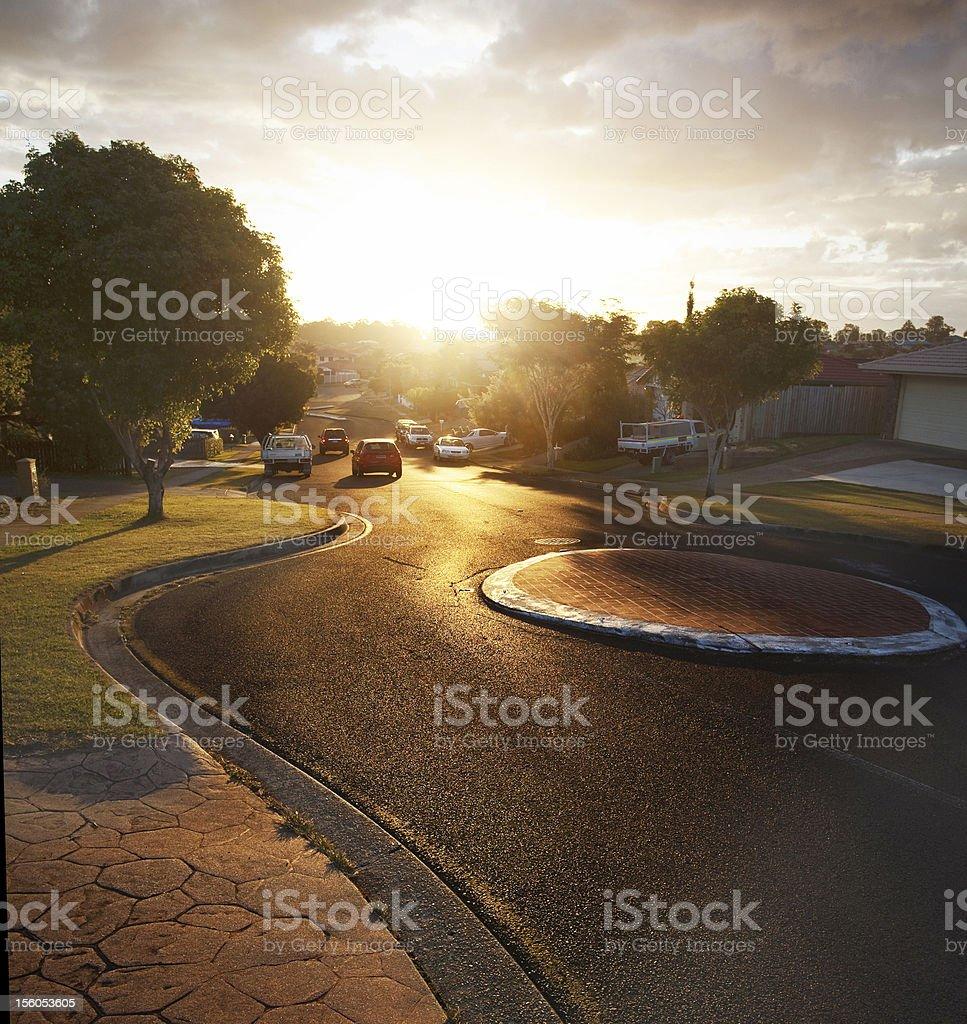 Sunset, Brisbane city streets royalty-free stock photo