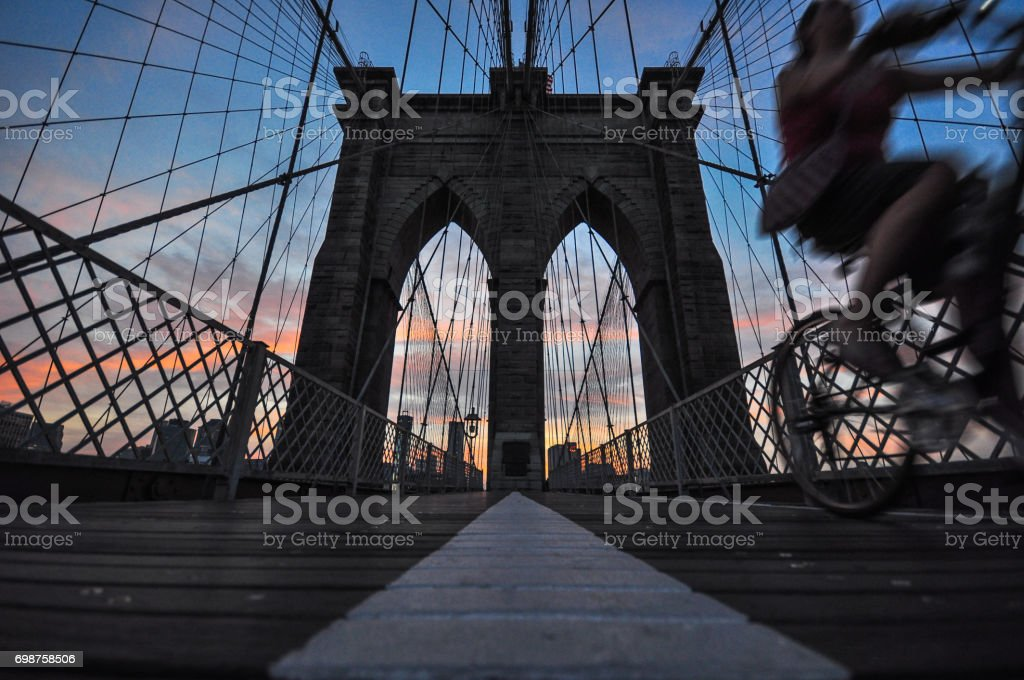 Sunset Brooklyn Bridge, New York City. US stock photo