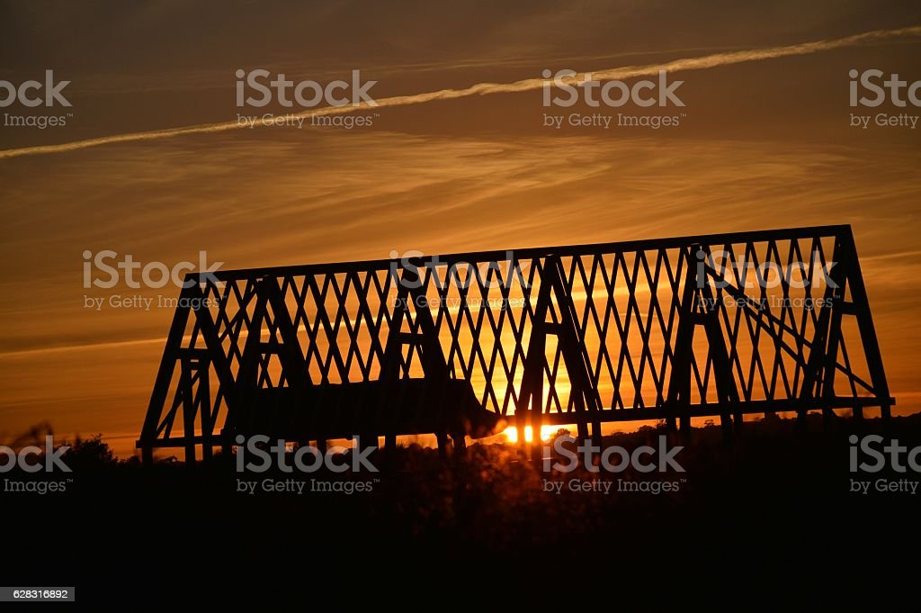 Sunset building roo stock photo