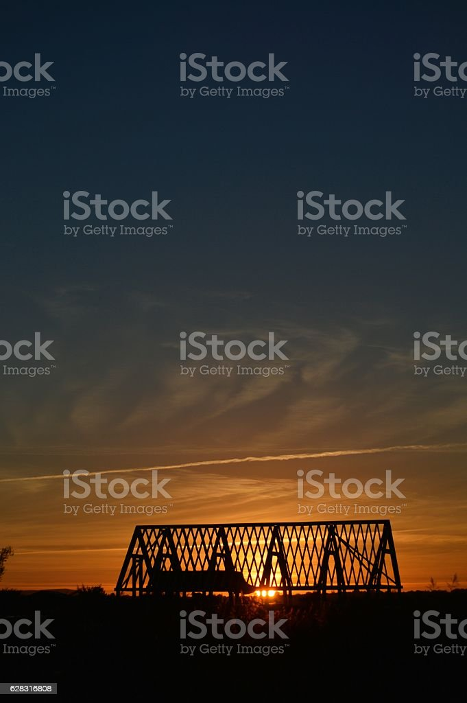 Sunset building roof stock photo