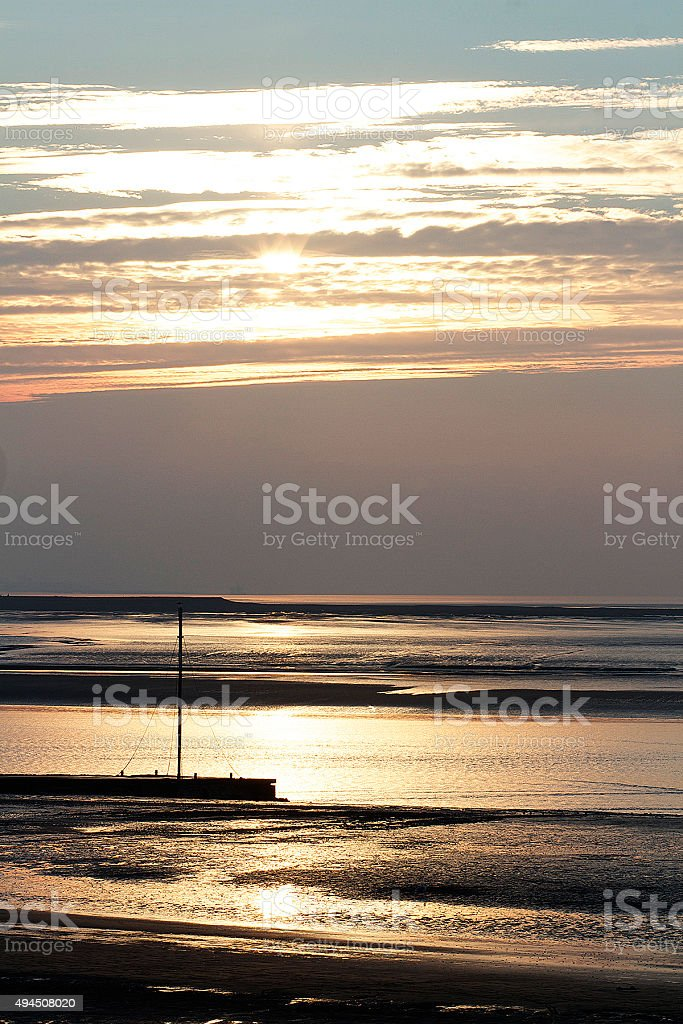 Tramonto, Burnham on Sea foto stock royalty-free