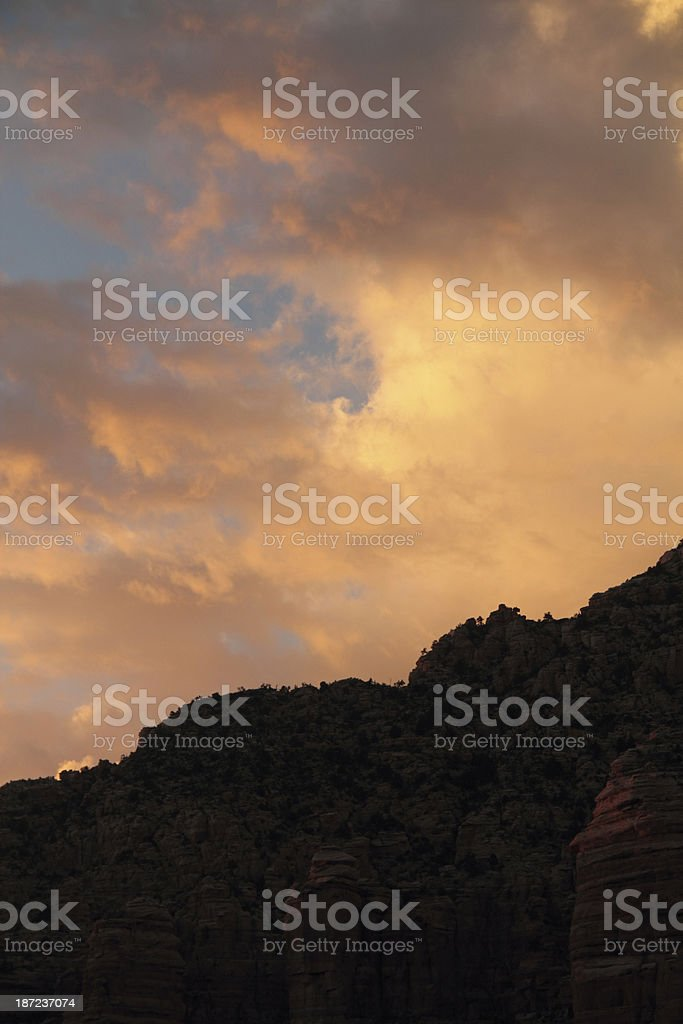 Sunset Butte Arizona Sillouette Mesa royalty-free stock photo