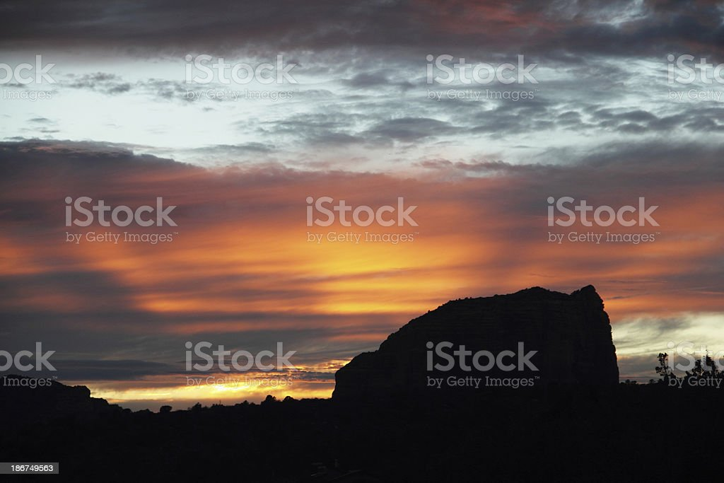 Sunset Butte Arizona Sillouette stock photo