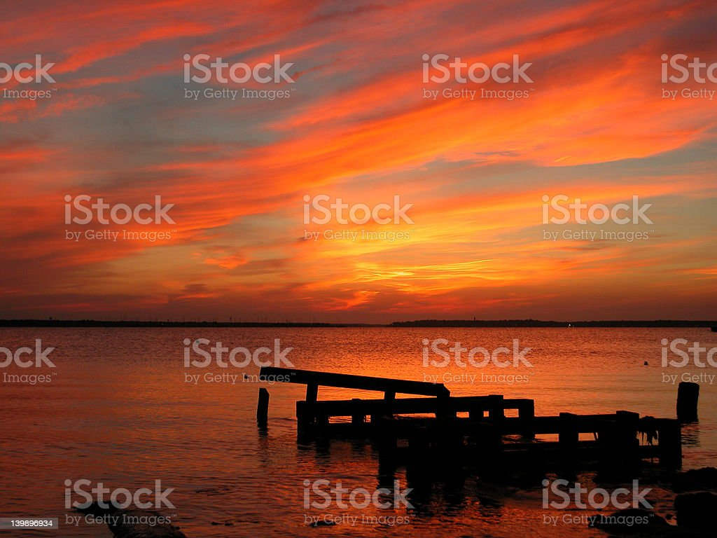 Sunset by a bay on New Jersey coastline royalty-free stock photo