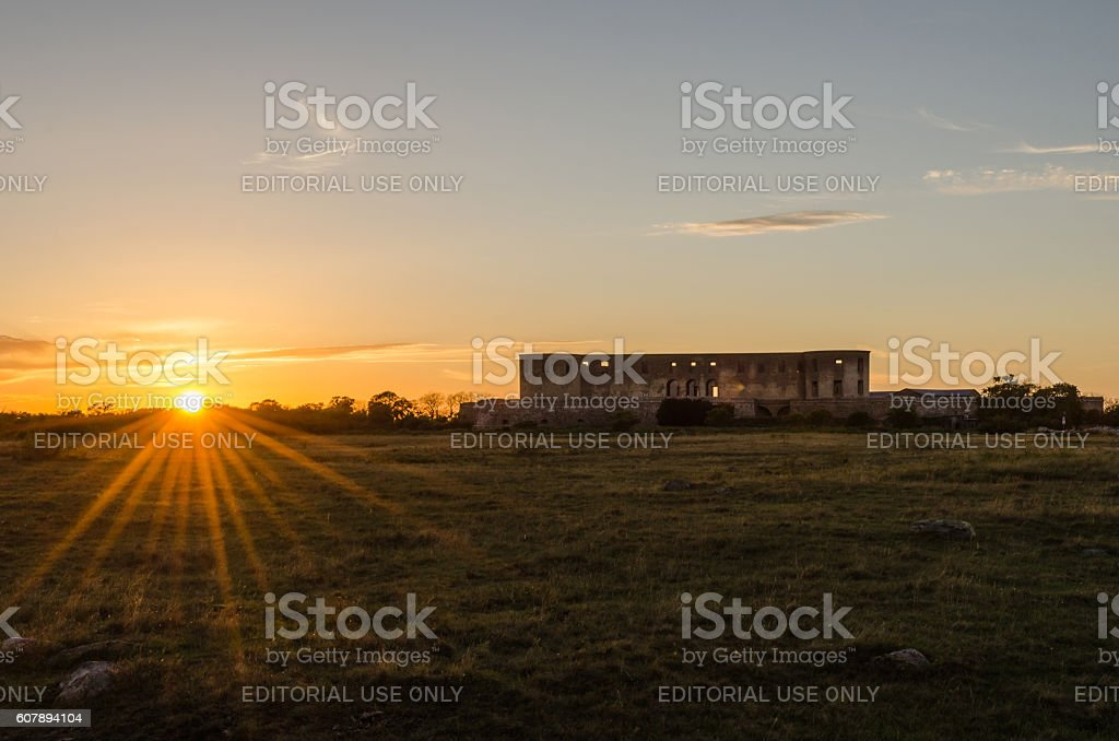 Sunset by Borgholm Castle in Sweden stock photo
