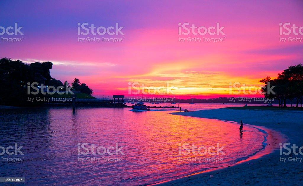 Sunset by Changi Beach, Singapore stock photo