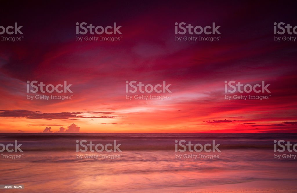 Sunset by the beach stock photo