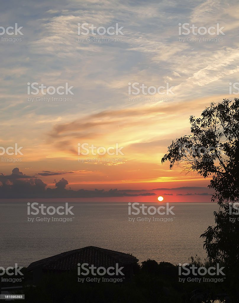 sunset by the coast royalty-free stock photo