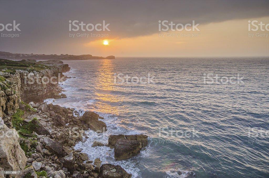 Sunset by the coastside royalty-free stock photo