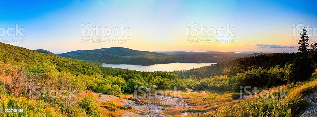 sunset cadillac mountain stock photo