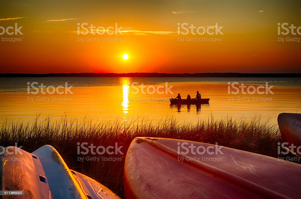 Sunset Canoe stock photo