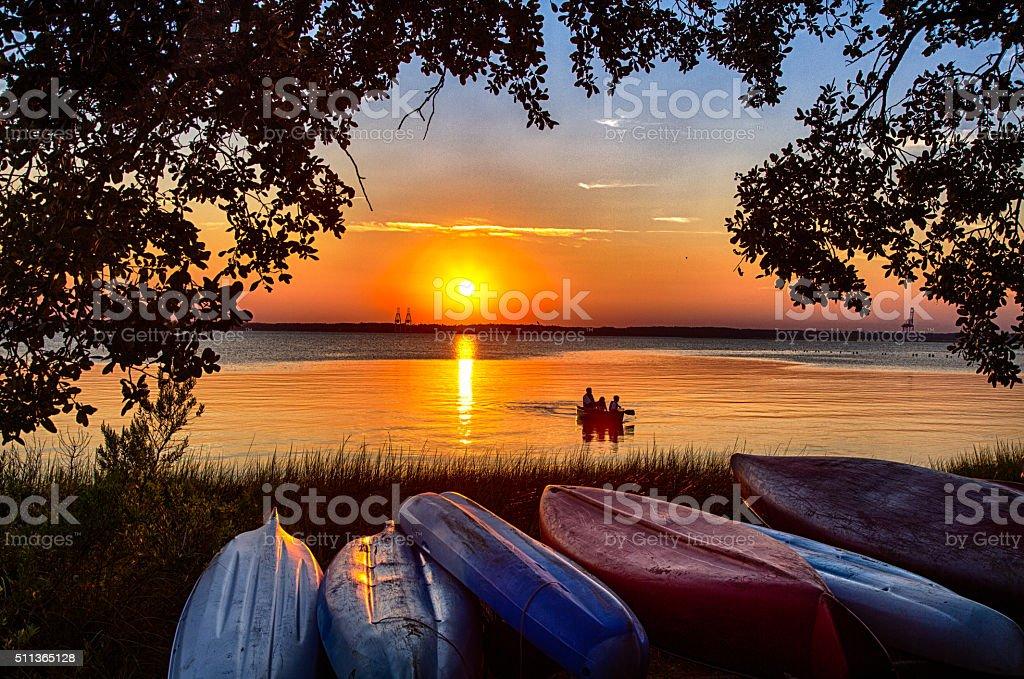 sunset Canoe stock photo