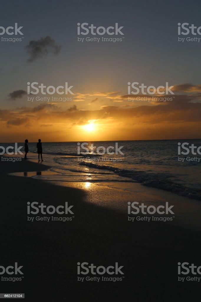 Sunset, Caribbean Sea stock photo