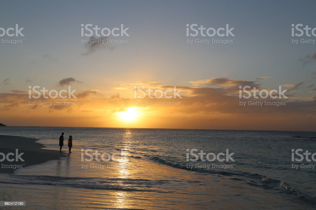 Sunset, Caribbean Sea stock photo