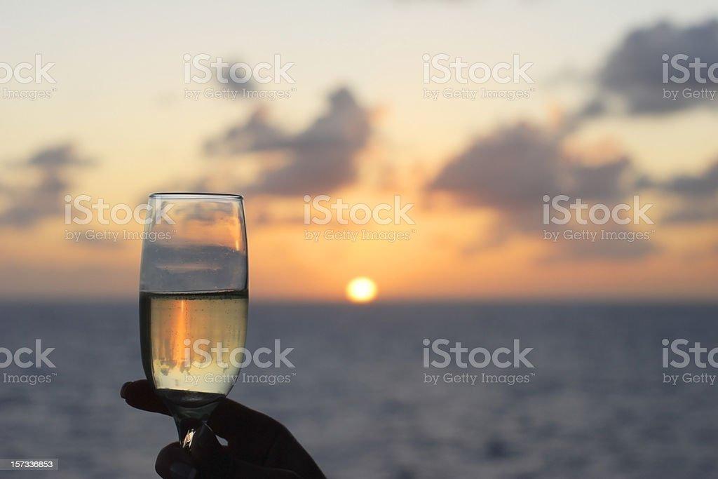 Sunset Champagne Toast royalty-free stock photo