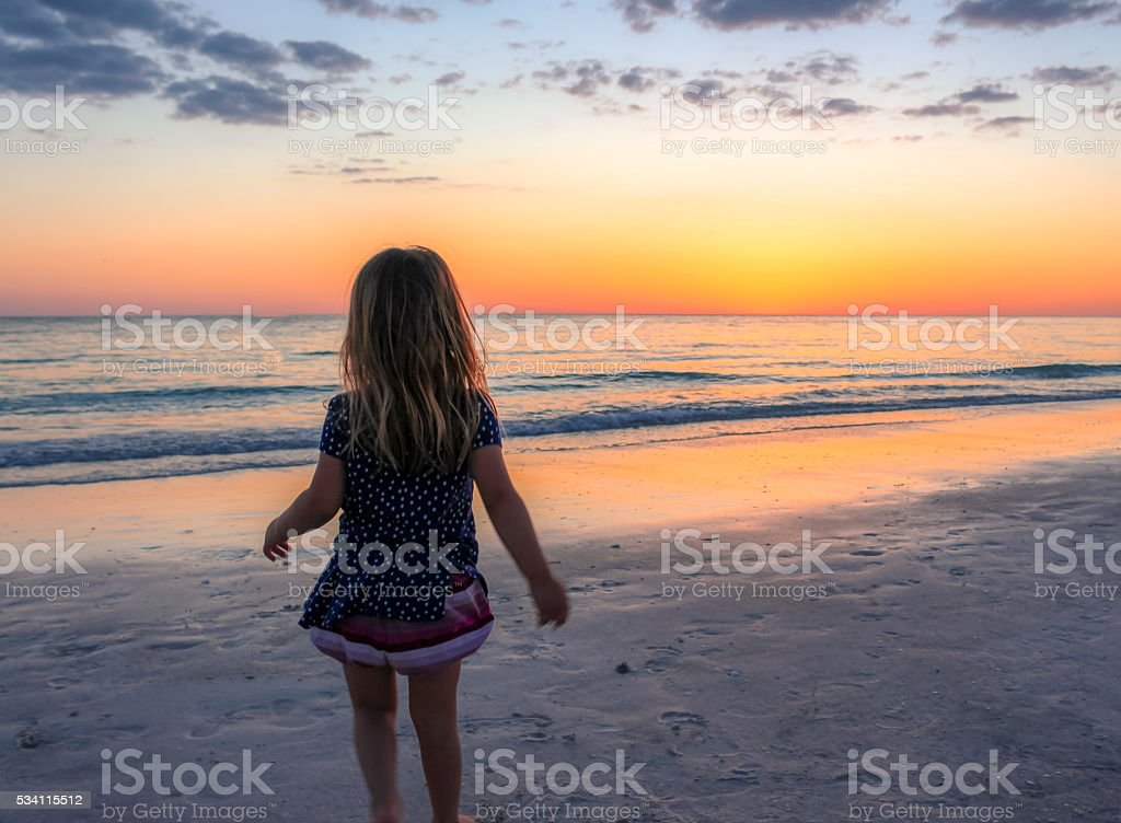 Sunset child stock photo