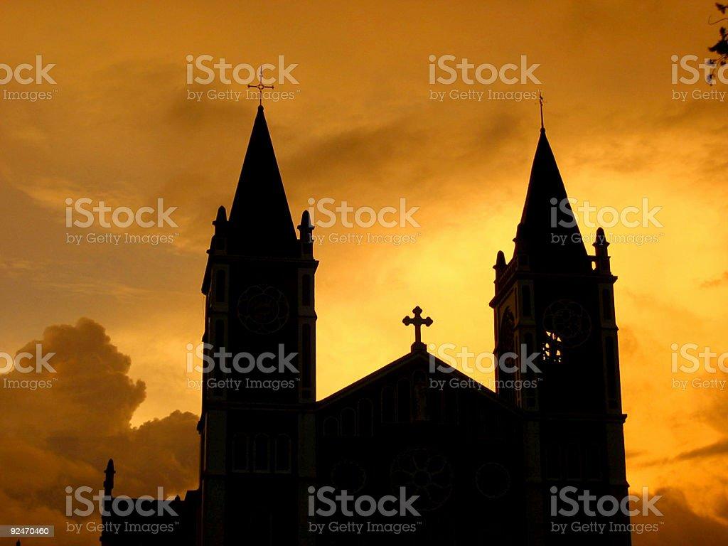sunset-Kirche Lizenzfreies stock-foto