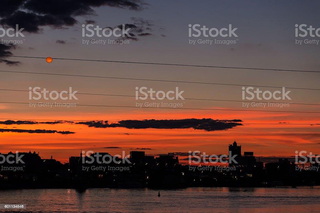 sunset city sky stock photo