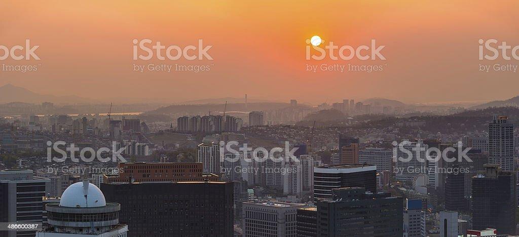 Sunset cityscape aerial panorama over futuristic skyline Seoul South Korea stock photo