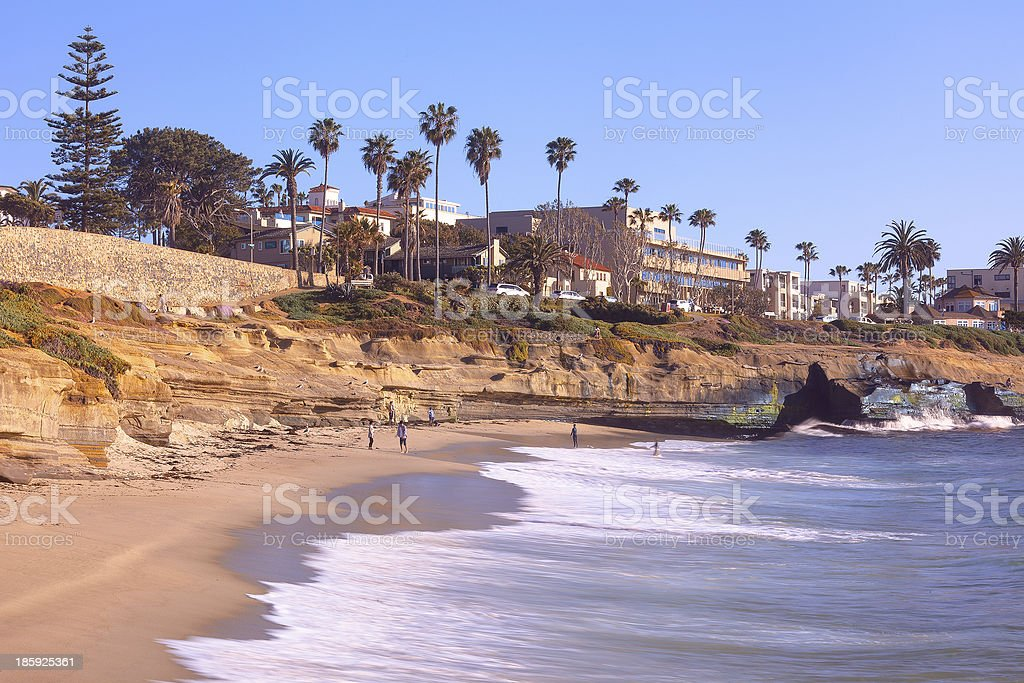 Sunset Cliffs Shoreline in Sunny San Diego, California USA stock photo
