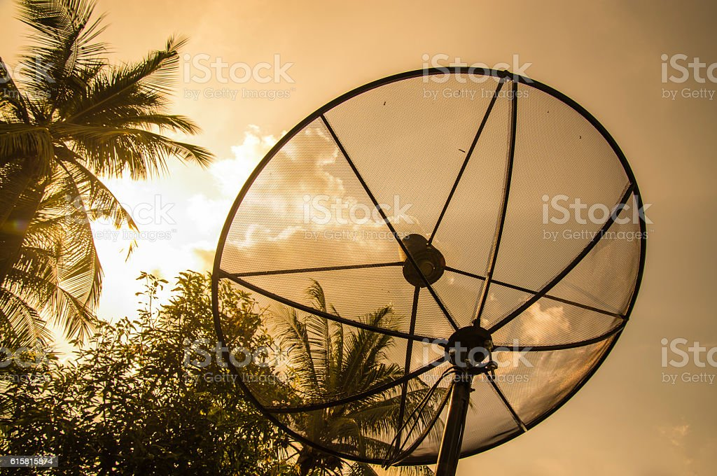 Sunset close to the satellite dish stock photo
