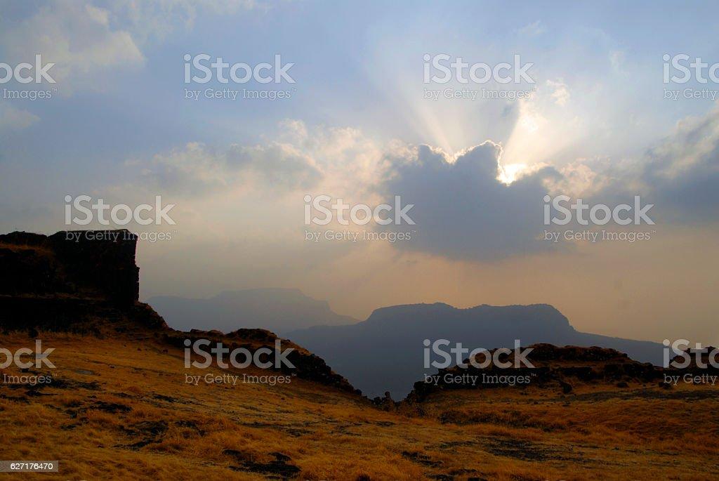 Sunset cloud action at old shivai fort @  maharashtra india stock photo