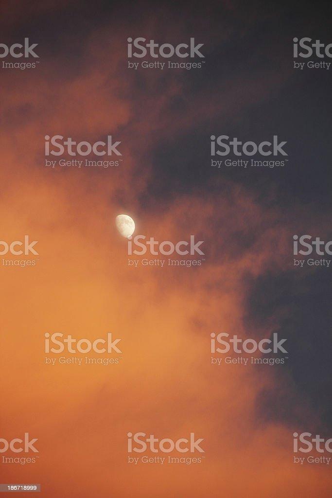 Sunset Cloud Moon Dramatic Sky stock photo