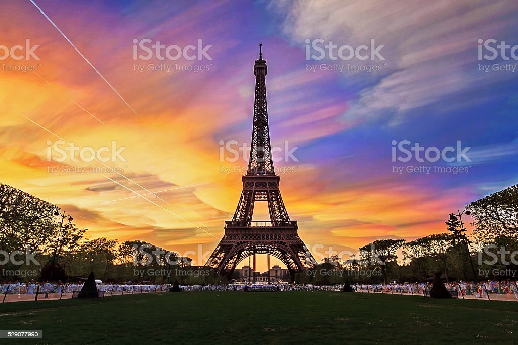 Sunset clouds Eiffel stock photo