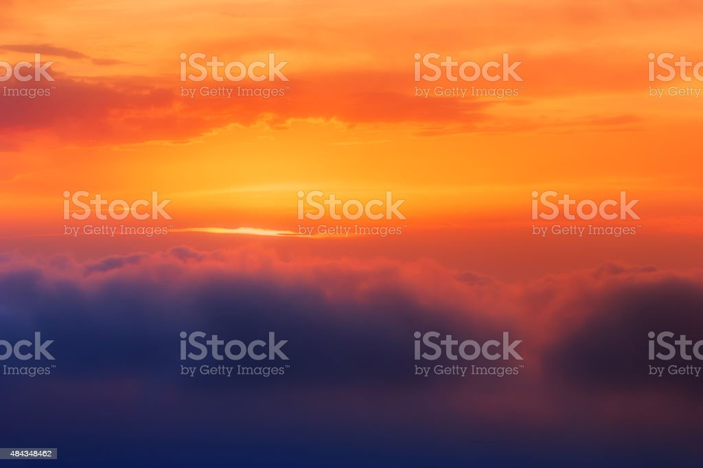 Sunset Clouds Over Sea stock photo