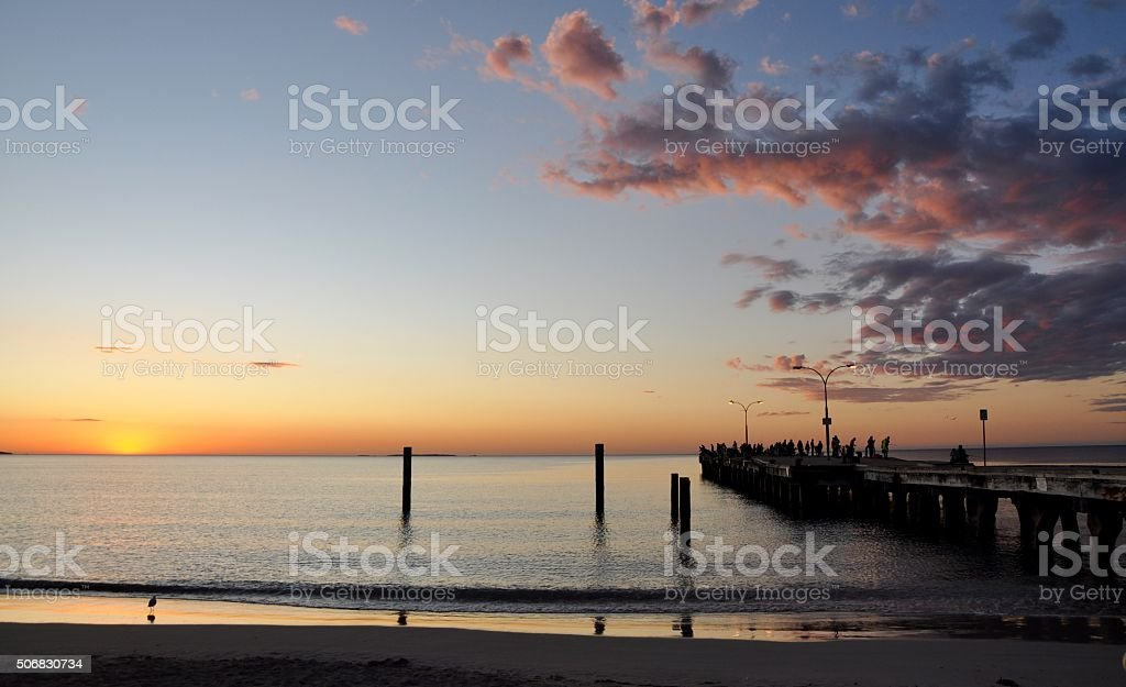 Sunset Clouds over the Jetty stock photo