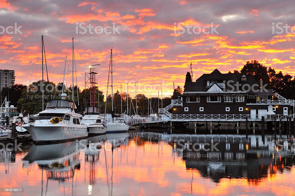 Sunset Clouds over Vancouver Rowing Club in Stanley Park royalty-free stock photo