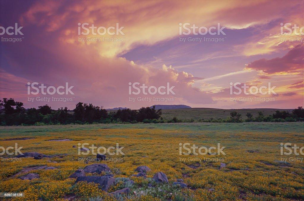 Sunset Clouds, Wichita Mtns., Oklahoma stock photo