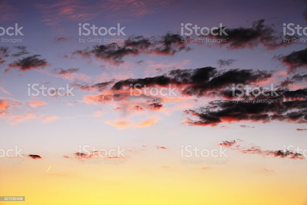 Sunset Cloudscape Dusk Vapor Trails stock photo