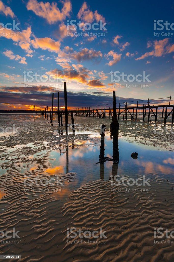 Sunset coastal scene of Poole Harbour stock photo