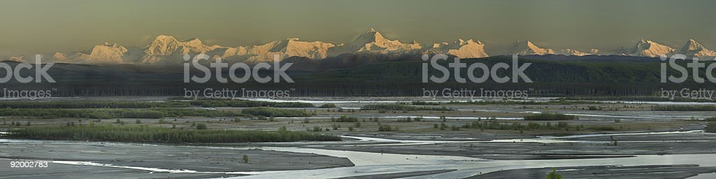 Sunset colors of the early summer Alaska Range royalty-free stock photo