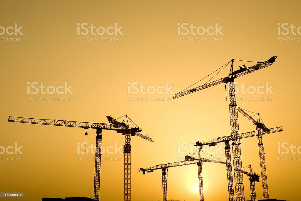 Sunset Construction royalty-free stock photo
