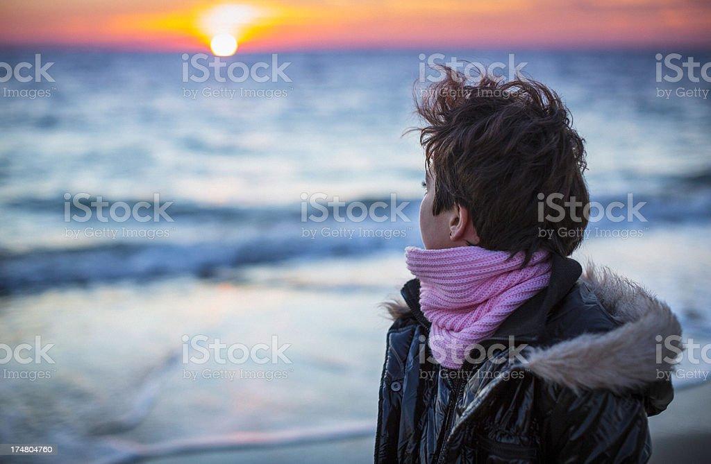 Sunset contemplation stock photo