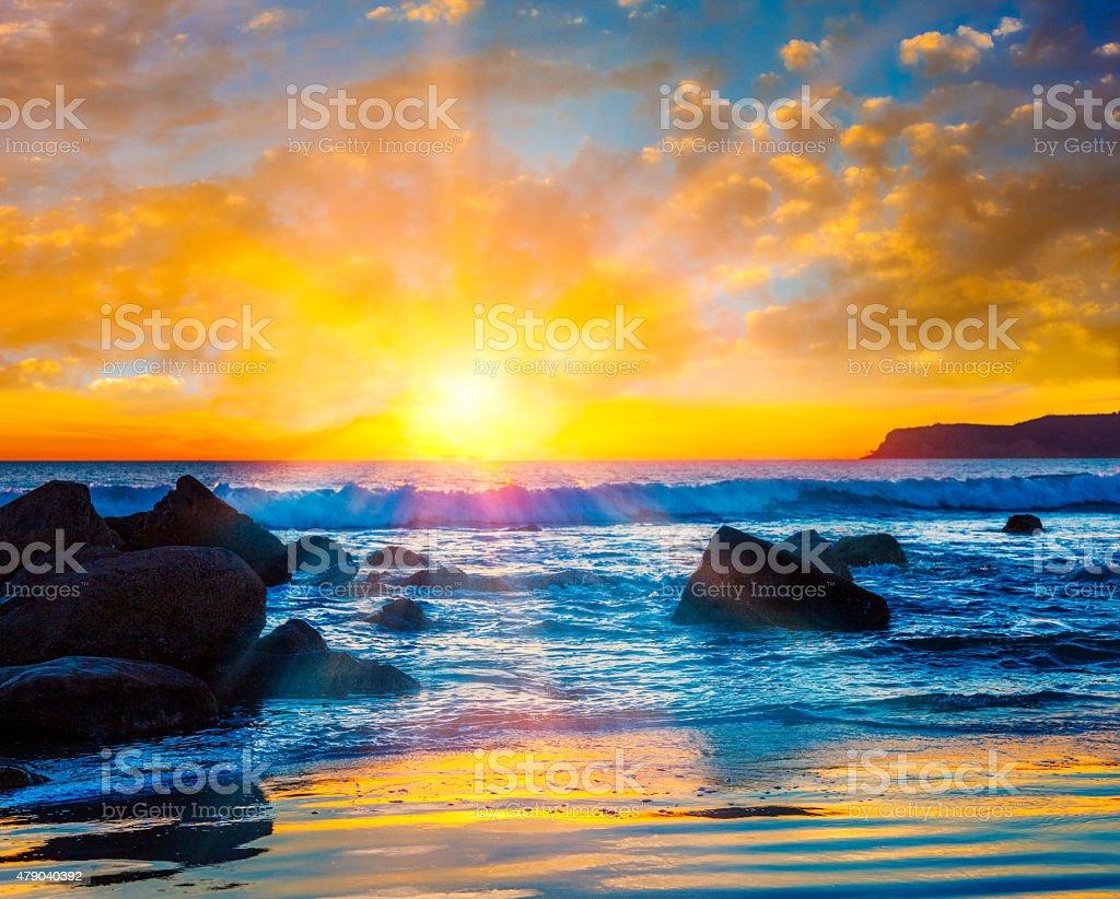 Sunset Coronado Beach,surf,San Diego,CA stock photo